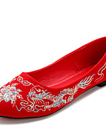 Zapatos de mujer-Tacón Plano-Mary Jane-Planos-Boda / Vestido-Ante-Rojo