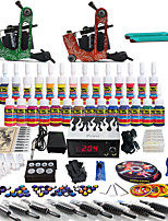 Solong Tattoo Complete Tattoo Kit 2 Pro Machine Guns 54 Inks Power Supply Foot Pedal Needles Grips Tips TK248