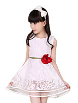 Girl's White Dress,Jacquard Polyester Summer