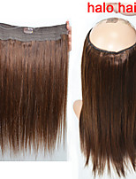 New Fashion 100g/bag Long Straight Human Hair Flip in Halo Hair Extensions Fish Line Hair weaving 4# Brown