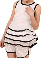 Girl's White Dress,Ruffle / Lace Cotton Summer / Spring
