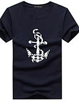 Katoen / Polyester - Print - Heren - T-shirt - Informeel / Grote maten - Korte mouw