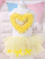 Cães Vestidos Rosa / Amarelo Verão Corações Fashion