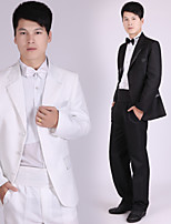 Suits Tailored Fit Notch Single Breasted Three-buttons Polyester Solid 4 Pieces Black / White