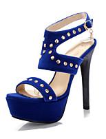 Women's Shoes Velvet Stiletto Heel Heels / Platform Sandals Party & Evening / Dress / Casual Black / Blue / Red