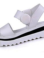 Chaussures Femme-Décontracté-Noir / Blanc-Talon Plat-A Plateau-Sandales-Similicuir