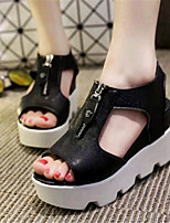 Women's Shoes Leatherette Platform Creepers Sandals Outdoor / Casual Black / White