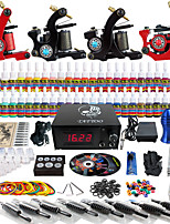 Solong Tattoo Complete Tattoo Kit 4 Pro Machine Guns 54 Inks Power Supply Foot Pedal Needles Grips Tips TKD01