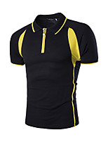 Men's Fashion Color Block Turn Down Collar Slim Fit Short-Sleeve Polos, Cotton/Polyester