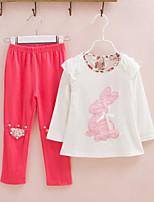 Girls' Casual/Daily Animal Print Sets,Cotton Spring Fall Long Sleeve Clothing Set