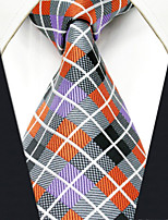 Men's Tie Multicolor Orange Checked Fashion 100% Silk  Business