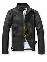 Hot Sale High Quality  Men's Slim Fit Buckles Collar Leather PU Leather Jacket Coat