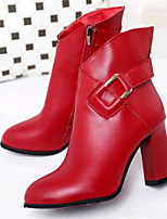 Women's Shoes Leatherette Chunky Heel Fashion Boots / Combat Boots Boots Outdoor / Casual Black / Red