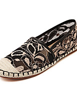 Women's Shoes Lace Flat Heel Round Toe Flats Casual Black / White