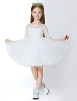 Ball Gown Short/Mini Flower Girl Dress - Tulle 3/4 Length Sleeve