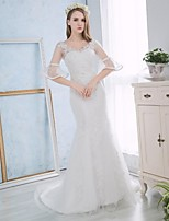 Trumpet/Mermaid Wedding Dress - White Court Train Sweetheart Lace / Satin
