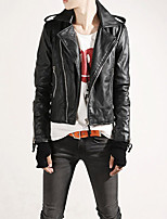Hot Sale Men's Slim Fit Buckles Collar Leather PU Leather Jacket Coat