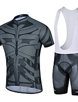 CHEJI Men Bib Short Sleeve Cycling Jersey + Bike Bib Short Sleeve Suit