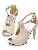 Zapatos de mujer-Tacón Stiletto-Tacones / Punta Abierta-Sandalias-Vestido / Casual / Fiesta y Noche-Semicuero-Negro / Blanco / Beige