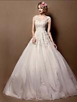 Vestido de Noiva - Marfim Baile Transparente Cauda Corte Renda / Tule