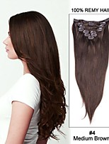 18inch 7pcs Straight Remy Hair Clip In Hair Extensions #4-Medium Brown