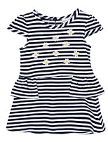 Girl's Black Dress,Stripes Cotton Summer