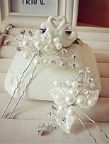 Women Fashion Pearls Leaves Hairpin Hair Clip for Wedding Bride