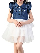 Girl's Blue Dress,Ruffle / Lace Polyester Summer / Spring