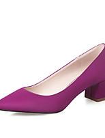 Zapatos de mujer - Tacón Robusto - Tacones / Punta Cerrada - Tacones - Vestido - Seda - Negro / Morado / Rojo