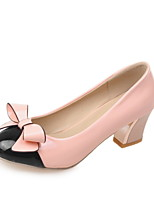Women's Shoes Patent Leather Summer/ Round Toe Heels Office & Career / Casual Chunky Heel BowknotBlack/Green/Pink/