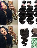 6A Brazilian Virgin Hair With Closure Body Wave Brazilian Hair Weave Bundles With Closure 4Pcs Lot Natural Color