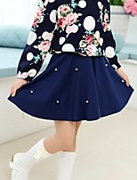 Girl's Blue / White Dress,Floral Cotton Summer / Spring