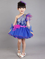 Latin Dance Outfits Kid's Linen Sequin 4 Pieces Sleeveless Dress Bracelets Headpieces