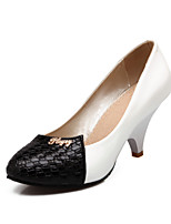 Women's Shoes Patent Leather Summer/ Round Toe Heels Office & Career / Casual Wedge Heel Split Joint Black / White