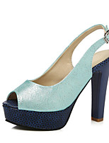 Women's Shoes Leatherette Stiletto Heel Heels / Peep Toe Sandals Wedding / Office & Career /  Dress Blue / Silver / Gold
