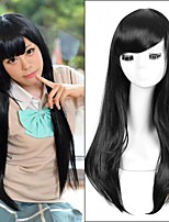 Long Straight Natural Black  Color Cosplay Style Synthetic Wigs Top Quality
