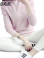DLSXUE Women's Solid Pink / Beige / Black Pullover , Work / Casual / Day Long Sleeve