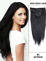 15inch 7pcs Straight 100% Remy Hair Clip in human Hair Extensions#1-Jet Black