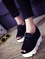 Women's Shoes Suede Fashion Simple Wedge Heel Comfort Sandals Dress Black / Gray