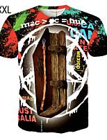 Polyester-Print-Heren-T-shirt-Informeel / Sport-Korte mouw