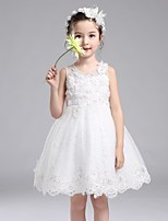 A-line Knee-length Flower Girl Dress - Lace / Organza / Satin Sleeveless