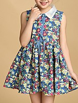 Girl's Blue / Yellow Dress,Floral Cotton Summer / Spring