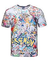 manga corta bolsillo de la camiseta 3d trajes cosplay pequeño monstruo de impresión camiseta cuello redondo ropa geek para hombres / mujeres