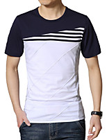 Men's Fashion Stripe Stitching Round Collar Slim Fit Short-Sleeve T-Shirt