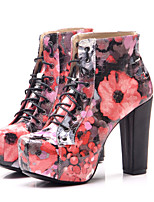Women's Shoes Leatherette Chunky Heel  Round Toe Boots Dress Blue / Red