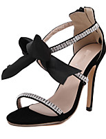 Women's Shoes Leather / Synthetic / Glitter Stiletto Heel Heels Sandals Wedding / Party & Evening / Dress Black