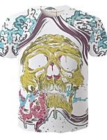 Camiseta De los hombres Casual / Deporte Estampado-Poliéster-Manga Corta
