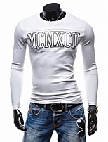 Men's Long Sleeve T-Shirt,Polyester Casual Print