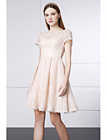 Cocktail Party Dress - Blushing Pink A-line Jewel Short/Mini Lace / Velvet Chiffonjavascript:;