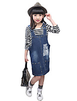Girl's Cotton Spring / Fall Letter Print Cowboy Suspender Dress